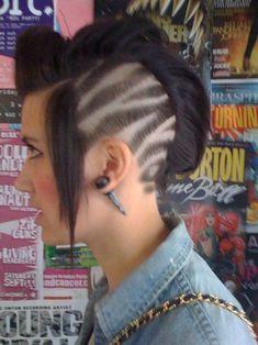 Shaved one side of hair. Tiger print shave. Zebra print ...
