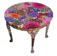 Love this revamped flora coffee table by ReFreshed Fabric Art