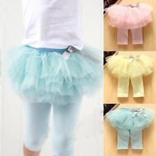 Kids Baby Girls Pants Ruffle Tutu Culotte Gauze Short Pants Leggings Skirts D54