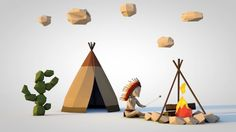 C4D Low Poly Indian camp | Cloud Fire - by Steve Boudin
