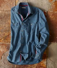 Made of soft, yet-structured chambray- Front-Runner Chambray from Mens Fashion Suits, Men's Fashion, Early Spring, Spring Summer, Denim Button Up, Button Up Shirts, Cool Shirts For Men, Country Wear, Denim Shirts