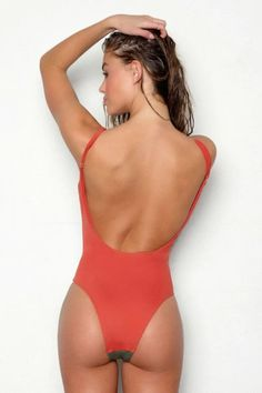 PEIXOTO Rosie Color Block Scoop Back One Piece Swimsuit - Tuscan Terracotta Orange/Forest Green | BIKINI.COM