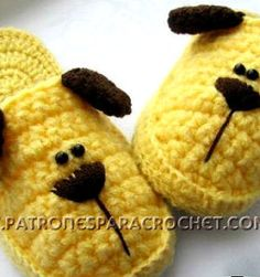 Puppy Slippers for Children / Step by step Crochet Crochet Slipper Pattern, Crochet Shoes, Crochet Slippers, Barbie Knitting Patterns, Easy Crochet Patterns, Crochet Designs, Baby Patterns, All Free Crochet, Crochet Baby