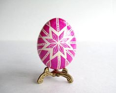 Pink Pysanka batik chicken egg shell by UkrainianEasterEggs