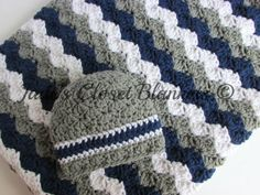 Baby Gift Set, Crochet Grey, Gray, Navy Blue, and White Hat and Crib Blanket Set, Baby Boy, New Baby Gift Set