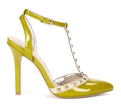 T-strap pump i=with stud detail, in fun color.