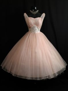 Vintage 1950's Pink Beaded Ruched Chiffon Circle Skirt Dress. {Repin}