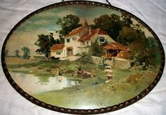 Victorian Flue Covers | Victorian flue cover - Children at farm pond - boy with sailboat