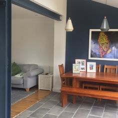 Exposed steel beam painted in Farrow & Ball in Stiffkey Blue Porch Beams, Painted Beams, Open Kitchen Layouts, Stiffkey Blue, Metal Beam, Steel Beams, Exposed Beams, Living Room Kitchen, House Colors