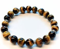 Hill tribe silver tiger eye stretch bracelet boho by Emmalishop