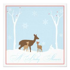 Winter Twin Girl Deers Baby Shower Invitation