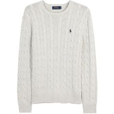 Polo Ralph Lauren Light grey cable-knit cotton jumper (1 280 SEK) ❤ liked on Polyvore featuring men's fashion, men's clothing, men's sweaters, mens chunky cable knit sweater, mens cable sweater, mens cotton cable knit sweater, polo ralph lauren mens sweater and mens cable knit sweater