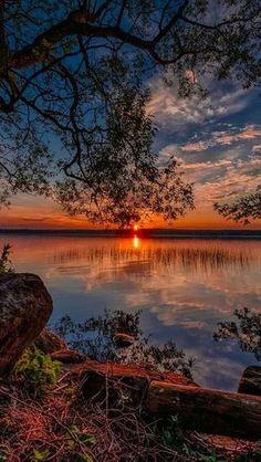 What beautiful reflections Lake at sunset painting inspiration.