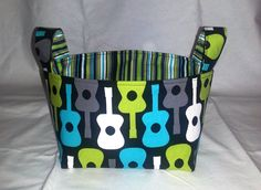 Groovy Guitars Basket Guitars Fabric Storage Basket by WatchMyDive, $18.00