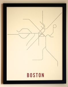 ✈ Boston Metro System Map Poster by Trnsprtnation: subway lines are made up of text with names of stations along the lines ✈