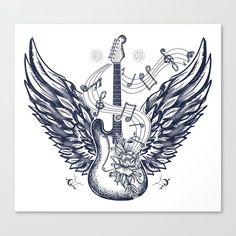 Guitar and wings tattoo. Electric guitar, roses, angel wings and music notes. Rock and roll t-shirt design. Symbol of rock music, musical festivals. Music Guitar, Rock And Roll, Music Drawings, Tattoo Drawings, Tattoo Art, Oral History, Rolling Stones, Steve Vai, Music Tattoos