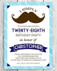 Printable DIY Mustache Birthday Party