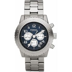 Fossil Men's CH2627 Silver Stainless-Steel Quartz Watch with Blue Dial Fossil. $108.00. Stainless Steel Case and Band, Push Button Release Clasp. Precise Quartz Movement. Case Size:  44mm Diameter, 13mm Thickness. Mineral Crystal, Date Display, Chronograph Function. Water Resistant - 100M
