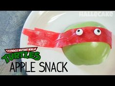 Teenage Mutant Ninja Turtles Apple Snack made with fruit by the foot. Perfect for A Ninja Turtle Birthday party!