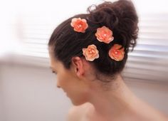 CORAL PINK Flower Hair Pins (4 pcs) Light Pink Flowers, Bridesmaids, Pink Bridal Headpiece, Wedding Hair Accessories, Small Hair Flowers