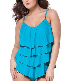 Loving this Cole of California Peacock Ruffle Tankini Top - Plus on #zulily! #zulilyfinds