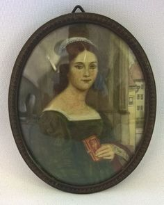 Catawiki online auction house: After Stieler - Portrait of Anna Hillmayer - miniature painted on ivory - circa 1870