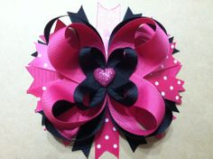 Black and Pink Polka Dot with Glitter heart embellishment Hair Bow
