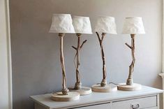 Table lamp from driftwood, oak wood, rope, and sailcloth lampshade by DutchDilight on Etsy