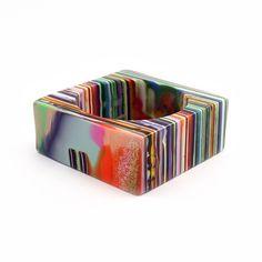 Bangle | Pop Art Design by Sobral - Pop Art collection medium square bangle bracelet. Made of multi-colored natural light weight resin