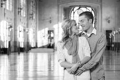 Union Station engagement photos | black and white engagement photos | Kansas City wedding photographer | www.anthem-photo.com