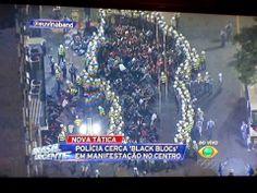 GUERRA EM SÃO PAULO CONTRA A COPA NO BRASIL  Policiais militares cercaram dezenas de manifestantes e os prenderam, na rua Coronel Xavier de Toledo. No local, policiais fizeram um cordão de isolamento e ameaçaram jornalistas que se aproximaram.