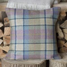 This gorgeous woollen tweed and linen cushion is handmade in the UK. Its beautiful plum check front is just the perfect dash of colour to brighten up any home o Country Decor, Tweed, Vintage Fashion, Cushions, Throw Pillows, Wool, Spring, Modern, Cotton