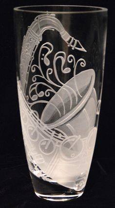 "Saxophone design on glass vase 8"" tall. Commissioned work. Sold."