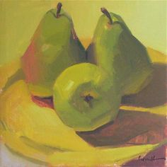 """Daily Paintworks - """"A Trio of Pears (no.2)"""" - Original Fine Art for Sale - © Sarah Sedwick"""
