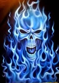 Image result for airbrushed skulls and flames