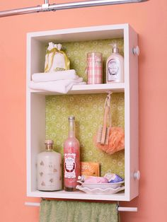 convert an old dresser drawer into a medicine cabinet that provides storage and style. Cut a plywood shelf to fit inside and nail it in place. Screw eye hooks into the bottom and thread a painted dowel rod through for a spot to hang towels. Line the back of the cabinet with patterned wallpaper or scrapbook paper glued in place. Mount the drawer on the wall with screws. AWESOME!