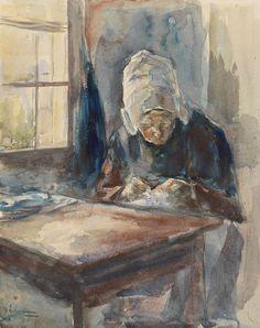 Dutch woman by the handwork.  Max Liebermann
