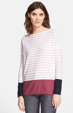 Women's Vince Tricolor Stripe Boatneck Sweater