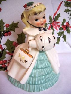 "VINTAGE NAPCO CHRISTMAS GIRL FIGURINE PLANTER 7½"" RHINESTONES | eBay"