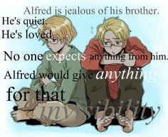 Hetalia Headcanons, Alfred is jealous of his brother. He's quiet....