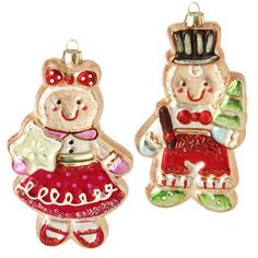 """RAZ Glass Gingerbread Christmas Ornament Set of 2  Assorted ornaments, set includes one of each style Brown, Red, Pink, Green, Blue Made of Glass Measures 6""""  RAZ 2014 Candy Sprinkles"""