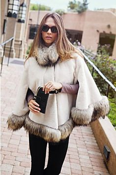 Velvety soft and sensuous, our Lillian sheared beaver fur cape drapes beautifully. This luxurious layer is lavished with Finn raccoon fur trim. Fur Fashion, Winter Fashion, Fashion Outfits, Fur Cape, Fur Trimmed Cape, Fur Accessories, Fox Fur Coat, Winter Wear, Fur Jacket