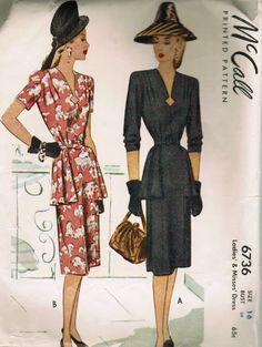 1940s  teired flounce skirt patterns | ... length sleeves. Skirt features hipline flounce. Side zipper closure