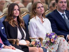 Princess Madeleine of Sweden and Princess Sofia of Sweden attend a concert at the 39th birthday celebrations for Crown Princess Victoria on July 14...