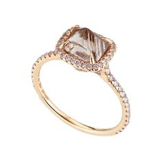 Classic Ring featuring a 2.45ct rough diamond accented with 0.36cts of pink micro pavé diamonds in 18k pink gold. I wish I could afford it :D