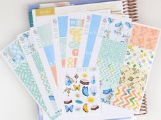 """This listing includes glossy sticker sheets, except for the """"washi"""" stickers - which are removable matte. In addition to the regular freebie included in kits, this kit also includes a free deco mini sheet!  These are die cut stickers printed in high quality on high quality sticker paper for crisp and vibrant colors.  These stickers are designed for the ECLP Vertical Layout, but you could use in any planner if you get creative!  *Please Note - Sticker sheets has been enlarged to satisfy…"""