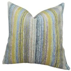 Plutus Spoft Strie Cornflower Handmade Throw Pillow, Double Sided, Multicolor