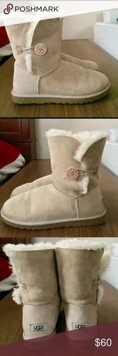 Sand Bailey Button UGG Boots Very lightly worn and in awesome condition! No trades :) UGG Shoes Ankle Boots & Booties