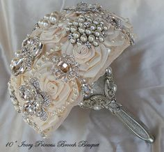 Gorgeous Ivory Satin Brooch Bouquet  Brooch por Elegantweddingdecor, $365.00