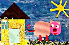 """The Three Pigs: Mixed Media Collages - After reading """"The Three Pigs"""", retold by Jane Resnik, student architects compared and contrasted different materials that could be used to build a strong home. (Forest Knolls Elementary School)"""